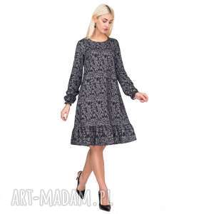 Sukienka LINA Mini Felicja, sukienka, falbanka, ornament, trapezowa, rozkloszowana