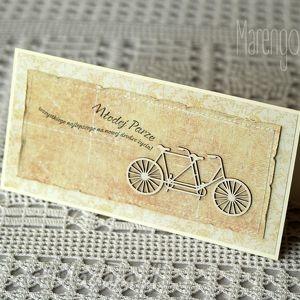 słoneczna kartka ślubna z tandemem, kartka, ślubna, życzenia, tandem
