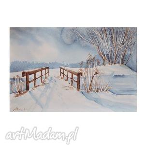 zimowy pejzaż 5, akwarela, zimowy, pejzaż, las, droga dom