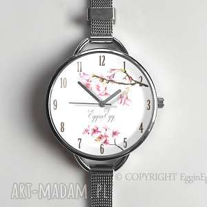 zegarek damski kwiat wiśni prezent egginegg - delikatny zegarek damski zegarek