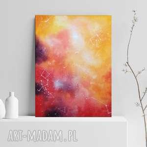 galaktyka w czerwieni, pomarańczu i fiolecie - abstrakcyjny obraz olejny w formacie 30/40