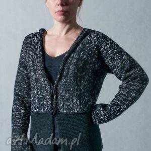 czarny melanżowy rozpinany sweter, kardigan, melanż, wełna