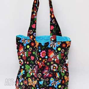 torba na zakupy shopperka ekologiczna zakupowa ramię bawełniana motyle