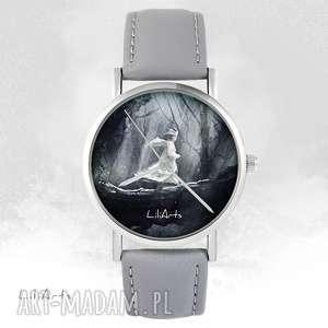zegarek - magiczny las szary, skórzany, zegarek, bransoletka, skórzany