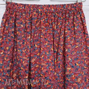 Burgundowa spódniczka w urocze listki, wiskoza, burgundowa-spódnica