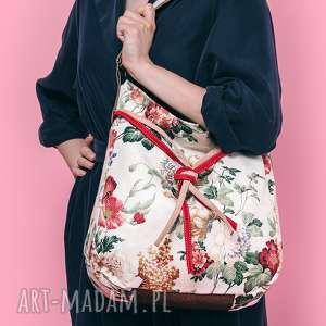 Simply bag - duża torba worek kwiaty na ramię incat kwiaty, folk