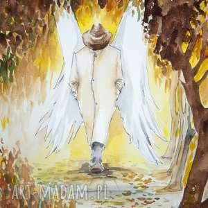 jesienią anioły chadzają po parku akwarela artystki adriany laube, anioł, jesień