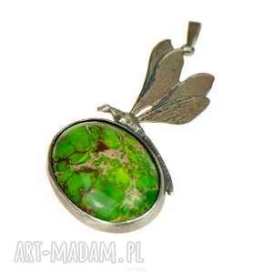 artseko cesarska ważka - zielony naszyjnik z jaspisem cesarskim a561, srebrny