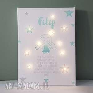 pamiątka chrztu świecący obraz led modlitwa aniołek lampka gwiazdki