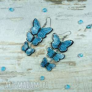 ręcznie wykonane kolczyki długie, turkusowe kolczyki z motylami