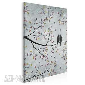 Obraz na płótnie - ptaki gałęzie liście miłość w pionie
