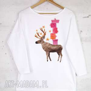 bluzka bawełniana biała z nadrukiem l/xl, renifer, bluzka, bluza, biała