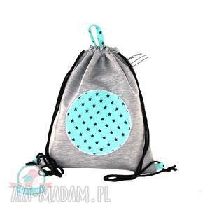Worek plecak wodoodporny z dresu gwiazdy turkus, worek, plecak, gwiazdy, kapcie