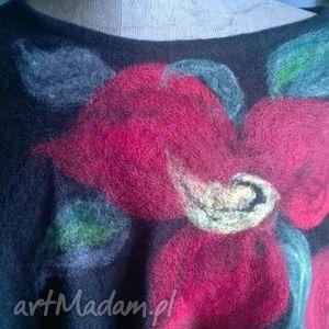 poncho tunika i kwiat magicznego ogrodnika, wełna ubrania