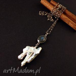 labradoryt i niezwykła perła - labradoryt, wisior, perła