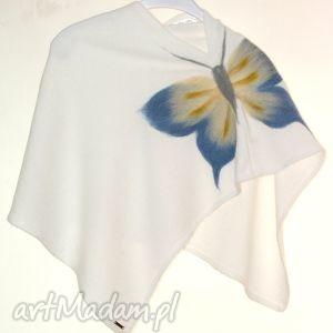 Prezent Ponczo dla dziewczynek wełną zdobione, prezent, urodziny, filcowanie, motyle