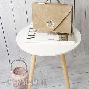 sztywna torebka/teczka manzana klasyczna- beżowa muflon, torebka, damska, torebki