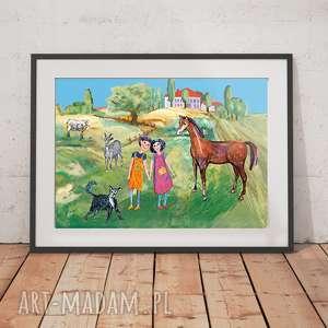 plakaty kolorowy obrazek z dziećmi, plakat do dziecięcego pokoju, ilustracja dla dzieci