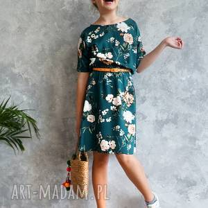 ręcznie zrobione sukienki sukienka zielona w kwiaty