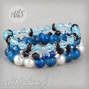 Czarno niebieska perła - ,niebieski,czarny,elegancki,zestaw,