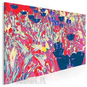 obraz na płótnie - abstrakcja tulipany 120x80 cm 08001, tulipan, łąka