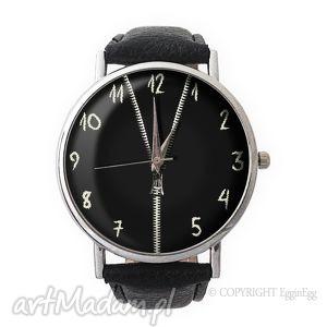 zasuwam - skórzany zegarek z dużą tarczą, czarny