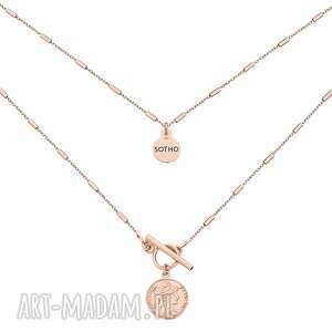 Naszyjnik z monetą różowego złota naszyjniki sotho różowe złoto