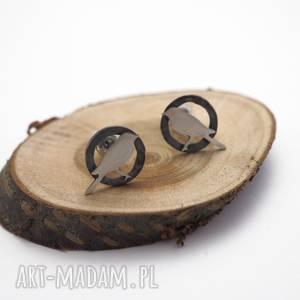 jachyra-jewellery srebrne kolczyki kawki - zwierzęta, bohozwi, ptaki