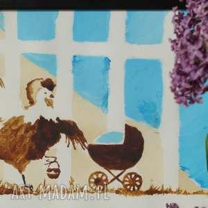 kura domowa - obraz kawą malowany - coffeepainting, wózek, jajko