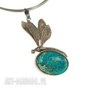 cesarska ważka -naszyjnik srebrny a690, naszyjnik z ważką, motyw ważki, jaspisem