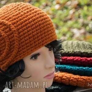 hermina czapka handmade, czapka, wełna, zrobiona na szydełku, szydełkowa