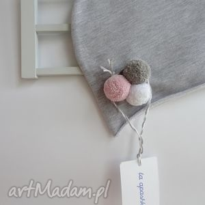 czapka z pomponami dla dziecka - pompon, dziecko, pompony, dzieci, dzianina