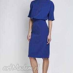 Sukienka, SUK123 indygo, ołówkowa, wyszczuplająca, kobieca, elegancka, chrzciny