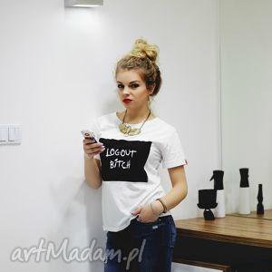 handmade koszulki koszulka top t-shirt biała bawełniana z nadrukiem