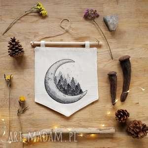 dekoracja ścienna proporczyk - ,proporczyk,las,księżyc,leśne,pokoik,dziecko,