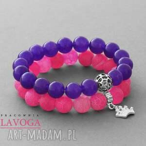 ręczne wykonanie bransoletki candy pink agate & violet jade set
