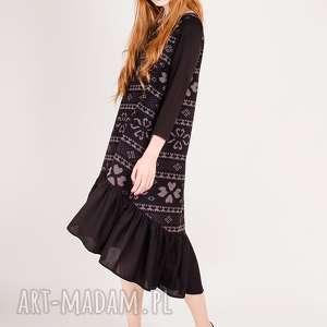 Sukienka z bawełny, aztek, wzorek, długa, maksi, falbana, nadruk