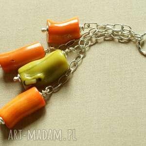 naszyjnik z pomarańczowego korala - tilia, koral, pomarańcz