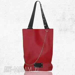 shopper skóra naturalna czerwony, worek, skórzany, łańcuch, ćwieki, shopper, zakupy