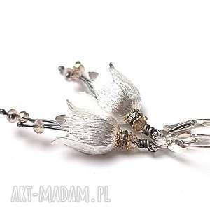 leśne dzwonki - pastelowe, srebro, dzwonki, kwiaty, kryształki