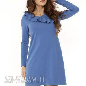 Sukienka z falbanką przy dekolcie niebieska, elegancka-sukienka, modna-sukienka