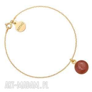 autorskie bransoletki złota bransoletka z bordową żywicą