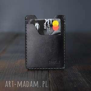 ręcznie wykonane portfele minimalistyczny portfel męski skórzany czarny