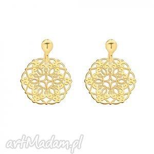 sotho złote kolczyki z rozetkami - ażurowe, orientalne, modne