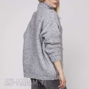 Szeroki półgolf, swe162 szary mkm swetry gruby, luźny, one size