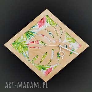 Drewniany zegar ścienny Liść Monstery , monstera, hibiskus, drewniany, egzotyczny