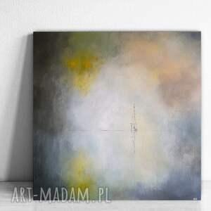 samotna łódź-obraz akrylowy formatu 60/60 cm, morze, łódź, płótno, akryl
