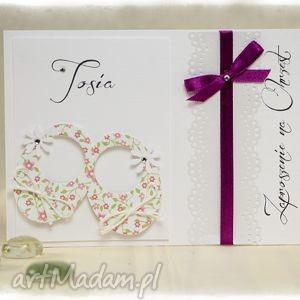 ittle shoes - zaproszenia na chrzest święty różowe kwiatuszki, dziecko, rękodzieło