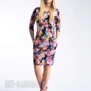 sukienki sukienka sonia mini ingrid, mini, kwiaty, łączka, kieszenie, kangurek