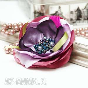 Prezent Elegancka broszka KWIATEK przypinka, broszki tekstylne, upominek, handmade